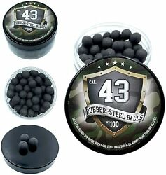 100x Hard Mix Rubber Steel Balls Paintballs F Home Defense Pistols In 43 Cal.