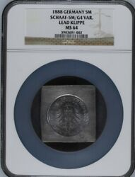 1888 Germany Pattern Lead Klippe 5 Mark Ngc Ms 64 Rare Finest Known