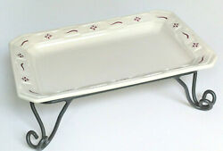 Longaberger 13x9 Rectangular Serving Tray And Wrought Iron Pedestal Stand New