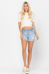 Judy Blue Cuffed Button Fly Destroyed Shorts