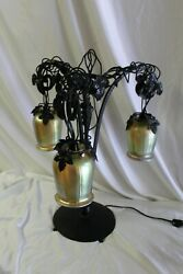 Art Deco Iron Table Lamp ,gold Glass Shades ,painted Finish After E Brandt