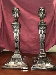 18th C Antique George Lll Silver Plate Sheffield Adams Style Candlesticks 1780