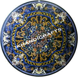 36 Black Marble Glorious Table Top Gemstone Inlaid Work Hallway Decor Gifts