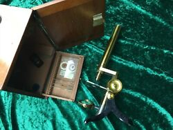 Rare Antique Vintage J Griffin Brass Microscope With Original Wooden Box