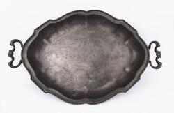 Antique Ca. 1780 Baroque German Tin Oval 2 Handled Tray For Drinks Block Zinn
