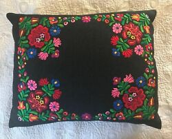 Beautiful Vintage Hungarian Kalocsa Hand Embroidered Wool Pillow Cover 16 X 20