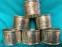 Antique Chinese Export Silver Signed Fine Dragon Motif Napkin Ring - Set Of Six