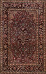 Antique Pre-1900 Floral Traditional Area Rug Vegetable Dye Hand-knotted Wool 3x5
