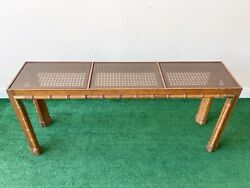 1980s Faux Bamboo Cane And Smoked Glass Top Console Table
