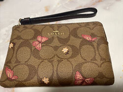 NWT COACH Signature Wristlet Butterfly Small Corner Zip Canvas Brown 2972 P3 $38.99