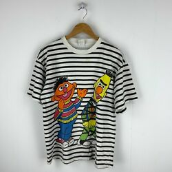 Sesame Street Ernie And Bert Vintage T-shirt Size Small White Striped 90s