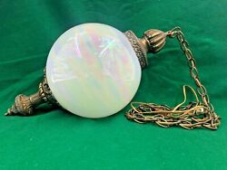 Vintage Mid-century Swag Lamp Globe Shaped Swirl Glass With Brass Finial