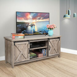58 Farmhouse Sliding Barn Door Tv Stand For Tvs Up To 60 Television Stand Gray