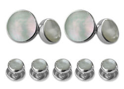 Sterling Silver Mother Of Pearl Double-sided Cufflinks Shirt Dress Studs Set