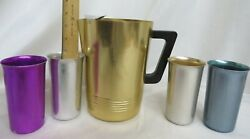 Vintage 8 Anodized Aluminum Regal Pitcher Ice Lip And 4 Starburst Tumblers