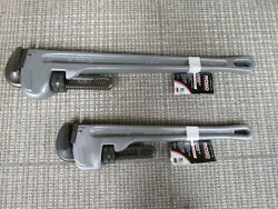 Lot Of Two 1. Ridgid Pipe Wrench 18 31100 And 1. 24 31105 Aluminum [47b]