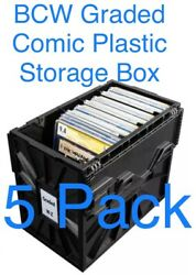 Preorder 5 X Bcw Graded Certified Comic Book Storage Plastic Bin Stackable Boxes