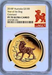 2018 Australia Proof Colored Gold 100 Lunar Year Of The Dog Ngc Pf70 1oz Coin
