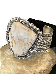 Mens Native Navajo Sterling Silver Wild Crazy Horse Turquoise Cuff Bracelet1417