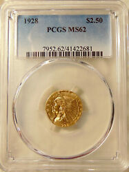 1928-p 2-1/2 Gold Indian - Pcgs Ms62 - Very Pretty Bu Coin - Free Ship And Ins