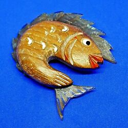 Leaping Fish Brooch Lucite Wood 1940s Elzac Acrylic Plastic Hand Carved Book Pc