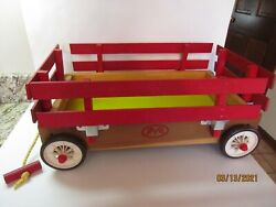 Vintage Wood Toy Wagon-removable Sides-pull String-heavy-never Used-quality