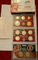 2008- S Us Mint Silver Proof Set W / Box And Coa 14 Coins