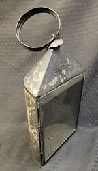 Antique Punched Tin Carriage Candle Lantern Glass Front Buggy Primitive