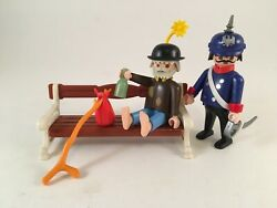 Playmobil 5300 5504 Hobo on Park Bench with Police Officer Victorian Mansion $25.00