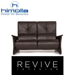 Himolla Leather Sofa Braun Dark Brown Two Seater Function Couch 14428