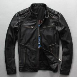 Menand039s Motorcycle Leather Jacket Vintage Thick Cowhide Rider Jackets Biker Coats