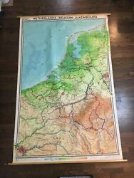 1961 Vintage Elevation Cloth Wall Map Of Netherlands, Belgium, Luxembourg