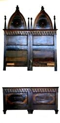 Neogothic Rare Antique Sacred Heart Double Bed 1800-1900