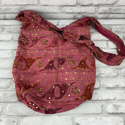 Hobo Sling Cross Body Messenger Shoulder Bag Hippie Bohemian Stitched India Made $16.99
