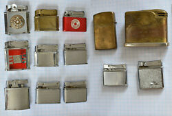 13-lot Vintage 1950s Cigarette Lighter All Fisher Usa As Is Parts Repair Restore