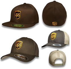 Brown United Parcel Service Embroidered Front And Back Fitted Flexfit Baseball