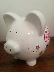 Piggy Bank Handpainted Ceramic Personalized GABRIELLA with Colorful Flowers Bugs
