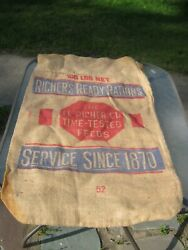 Vintage Richer#x27;s Ready Rations Feed Bag Sack 2 $14.95