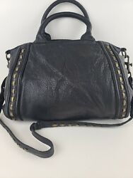 LIEBESKIND Berlin Black Leather Hobo Crossbody Shoulder Tote Satchel Handbag $55.00