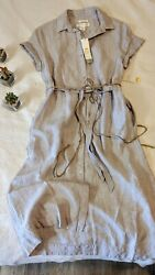 C And C California 100 Linen Dress Shirtdress Lagenlook Cottagecore 6 Minimalist