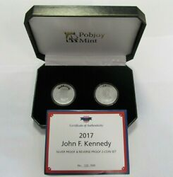 2017 Pobjoy Mint John F. Kennedy Silver Proof And Reverse Proof 2 Coin Set Rare