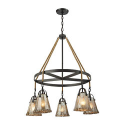 Lighting 106315ch Five Light Chandelier Hand Formed Glass Rubbed Bronze