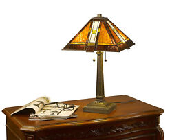 Style Brown Mission Table Lamp 2 Light 14 Shade Handcrafted New