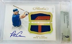 2019 Panini Flawless Pete Alonso Rc Rookie Dual Patch Auto Gold 3/10 Bgs 9/10