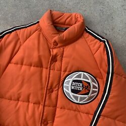 Vtg Rare Swingster Ditch Witch Construction Nylon Puffer Jacket Arctic Polar Med