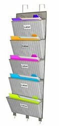 Over The Door File Organizer 5 Large Pockets Office Wall Hanging File