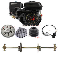 7hp 212cc Gas Recoil Air-cooled Engine Motor Gx160 And 32 Gokart Rear Axle Kits