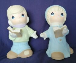 Precious Moments Large Boy And Girl Carolers Figurines Signed Sam B 2000