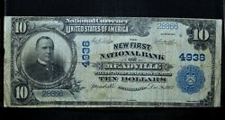 1902 Pb 10 National Bank Note ✪ New First Ntl Bank Meadville ✪ Pa 4938◢trusted◣