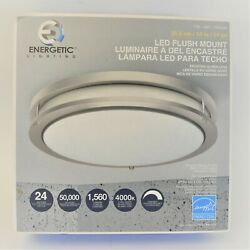 Energetic Lighting 14 Dimmable Led Flush Mount Ceiling Light Brushed Nickel New
